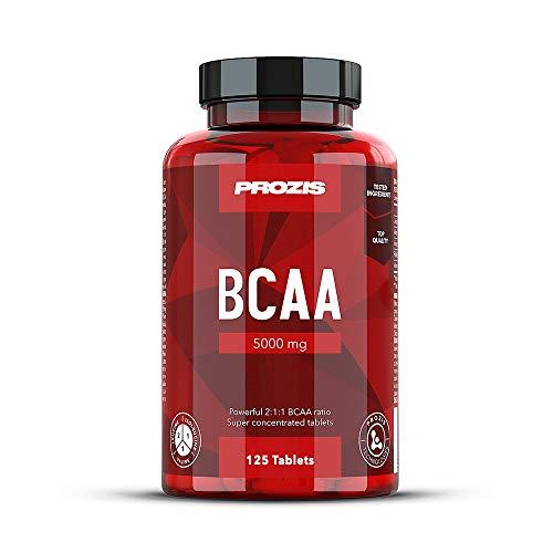 Prozis BCAA 5000 125 Cáps - Leucina 2:1:1, Isoleucina, Valina - Complemento para Promover la Recuperación y el Desarrollo Muscular - 25 Dosis