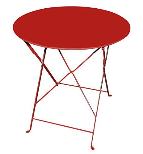 talenti Metall Tisch Klapptisch Ø70cm rot red farbig Gartentisch Beistelltisch Garten Balkon Bistrotisch