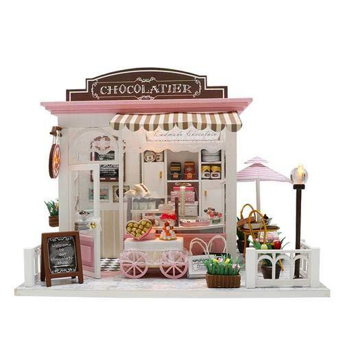 lingzhuo-shop Puppenhaus Bausatz ,DIY Puppenhaus Miniatur, Haus Holz Selber Bauen Haus Zum Basteln Zubehör Lernspielzeug Spielzeug Kinder mit LED Leuchten Cocoa Ist Launisch Ohne Staubschutz