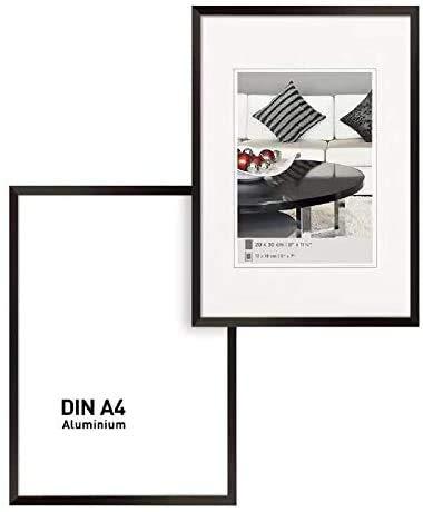 Johgee 2er Set Aluminium Bilderrahmen DIN A4 SCHWARZ,Doppelpack BilderRahmen 20X30 schwarz, mit bruchsicherem Plexi-Glas