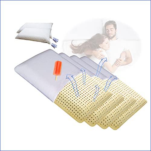 4 almohadas de espuma viscoelástica | Almohada transpirable para cervicales | Oferta Launen Tirol + Funda lavable hipoalergénica | Almohada para dormir | No Sudor | cm 72 x 42 h 13 Nr. 4 Jabó