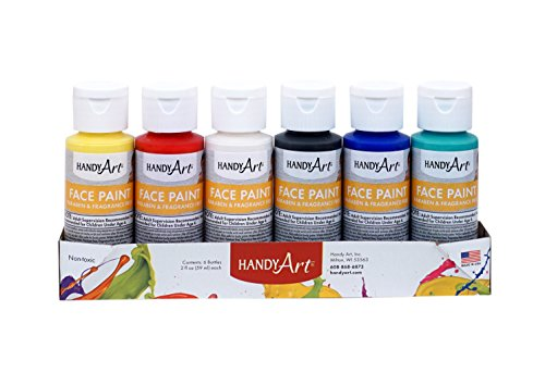 Price comparison product image Handy Art HAN882555 Primary Face Paint Kit,  Assorted,  2-Ounce,  6-2oz