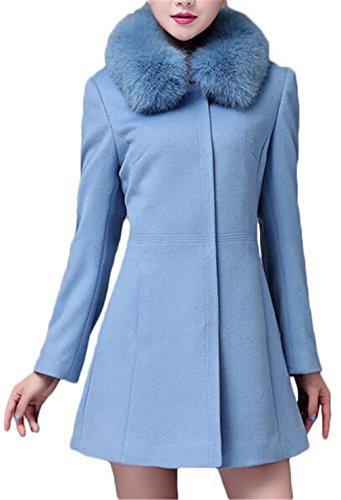 Luodemiss Women's Lapel Outerwear Faux Fur Parka Jacket Wool Coat