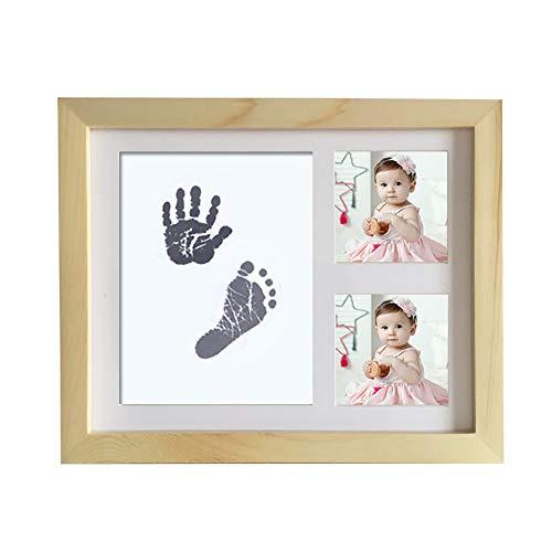 Kit cadre photo empreinte de main et empreinte béb Bébé mains et des pieds Imprimer Cadre boue Nouveau-né bébé en bois massif mains et des pieds à usage unique huile de lavage Souvenir immortaliser vo