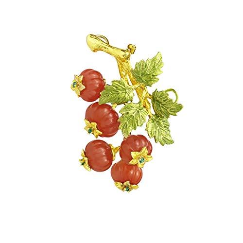 liangzishop Broche para Damas Broches delicados para Mujeres Moda Red Agate Pines Retro Temperamento Broche Cardigan Pines - Regalo para Las Mujeres (tamaño 55 × 38 mm) Decoración Brooch