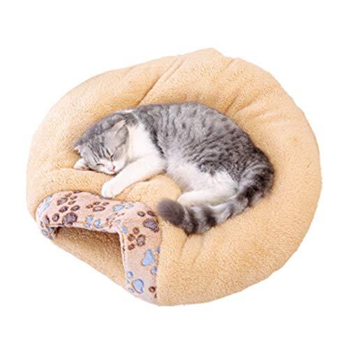 KOKOF huisdier bed, kat nest kennel huisdier nest kat bed hond bed kat slaapzak semi-gesloten chihuahua zacht kussen 55cm * 48cm * 13cm, Medium, Geel
