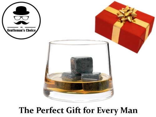 Premium Whiskey Stones by Gentleman's Choice – Gift Set of 9 Chilling Rocks – 100% Pure Soapstone – Packaged in an Exclusive Wooden Box + Velvet bag – Extra Bonus: 8 eBooks for FREE!