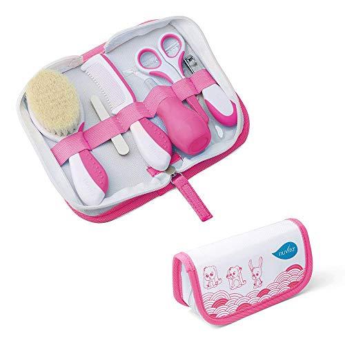 Nuvita 1136 Set per la Cura del Bambino – Trousse da bagno - Bellezza per Neonato – Forbicine per per Unghie e Capelli – Ideale per Asilo e Viaggi – Senza BPA – Marchio UE – Design Italiano (Rosa)
