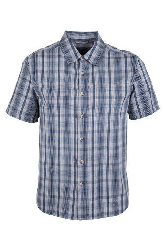 Mountain Warehouse Camicia a Maniche Corte da Uomo Weekender - Camicia Estiva 100% Cotone, Camicia Casual Leggera, Traspirante, Comoda - da Passeggio, Campeggio, Viaggio Blu Navy S