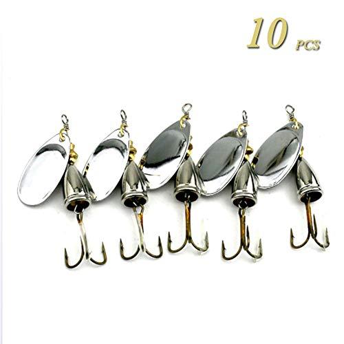 GWSPORT 10 pcs Señuelos Cucharillas de la Pesca Set, Spinner Cebo del...