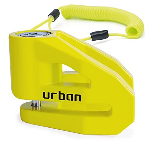 URBAN Securtiy UR206Y Candado Antirrobo Disco ø6 fabricado en Europa, Amarillo, 6 mm