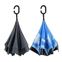 PFFY 48インチ 逆さ傘 2層逆折り傘 防風 車 ゴルフ傘 2個セット, ブラック+スカイブルー