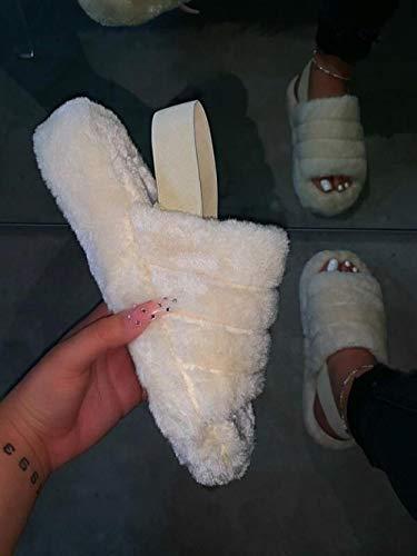HUSHUI Felpa CóModo Pantuflas,Zapatillas Antideslizantes publicitarias, Punta Abierta de algodón con Fondo Suave Drag-White_38,Zapatillas de Algodón con Memoria