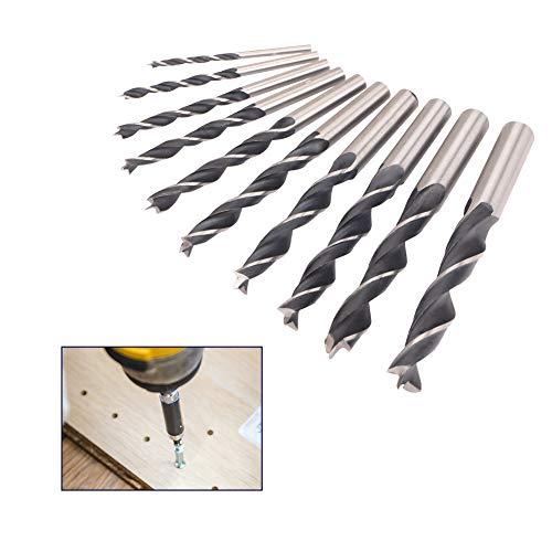 10pcs Spiralbohrer Set 45# Stahlbohrer Verschleißfest Hitzebeständig Holzbohrer zum Bohren von Werkzeug Holz, Metall, Kunststoff (3/4/5/6/7/8/9/10/11/12mm)