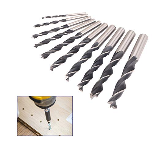 10pcs Twist Drill Bit Set 45# Steel Drill Bits Wear-Resistant Heat-Resistant Wood Drill Bits for Drilling Tool Wood, Metal, Plastic (3/4/5/6/7/8/9/10/11/12mm)