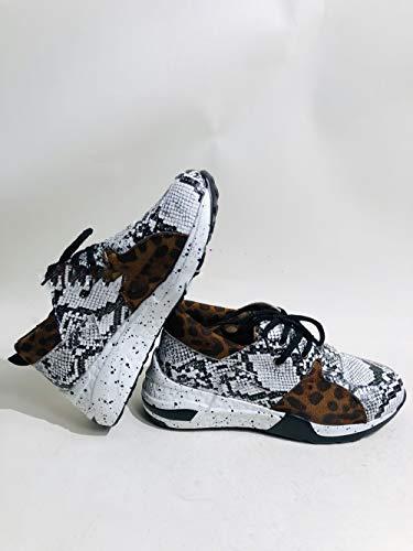 Mujeres Zapatillas Plataforma Al Aire Libre Casual Deportes Gimnasio Zapatos Cordones hasta Chunky Entrenadores vulcanizados Estampado Leopardo,C,37