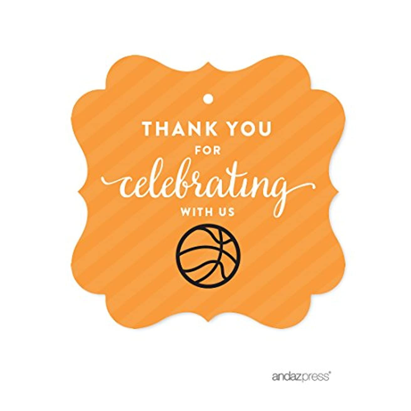 Andaz Press Birthday Fancy Frame Gift Tags, Thank You for Celebrating with Us, Basketball, 24-Pack, for Gifts and Party Favors