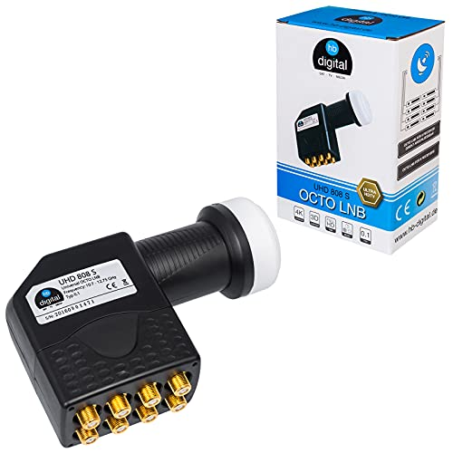 hb-digital Octo LNB ( Test SEHR GUT *) LNC Kopf für 8 Teilnehmer Direkt LTE Protected Satelliten Digital Sat Full HD TV 3D 4K UHD Kontakte vergoldet Wetterschutz Schwarz Black