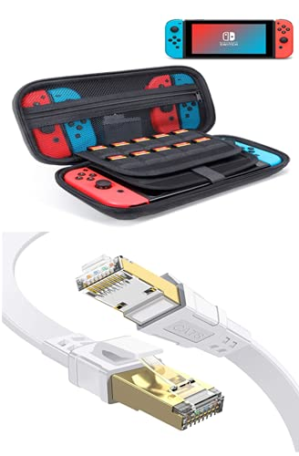 ODOM Switch Carrying Case for Nintendo Switch, Nintendo Switch Lite Travel Cover Case Storage, Cat 8 Ethernet Cable 3ft, 40Gbps 2000Mhz RJ45 Connectors for Gaming/Xbox/Modem/Router/PS
