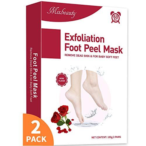 Masque Pieds Peeling 2 Paires, Mixbeauty Peeling Pied, Exfoliant Pieds Chaussette, Peeling Off Peau Morte et Callosités, Soin Pieds Pour Pieds Rugueux