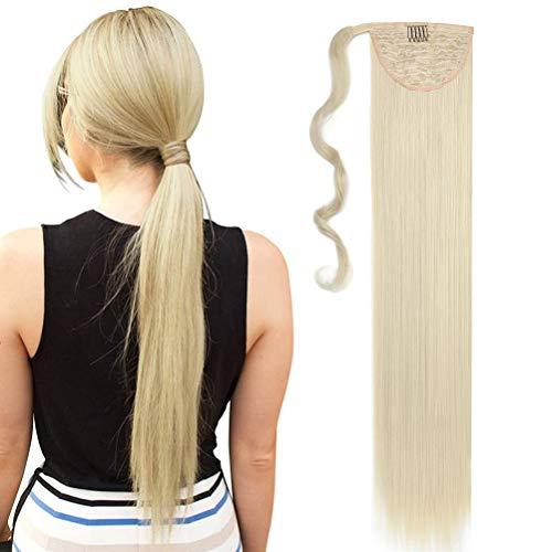 Coda di Cavallo Extension Clip Capelli Naturale Lisci Dritto Ponytail Hair Extensions Wrap on Posticci Sintetici Lunghi 80cm Candeggina bionda
