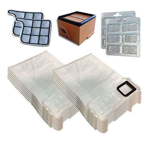 Kit de 12 Bolsas (Microfibra) + 12 ambientadores + Filtro HEPA/EPA + 2 filtros de Motor para aspiradora Vorwerk Folletto Kobold VK 135, 136, VK135, VK136