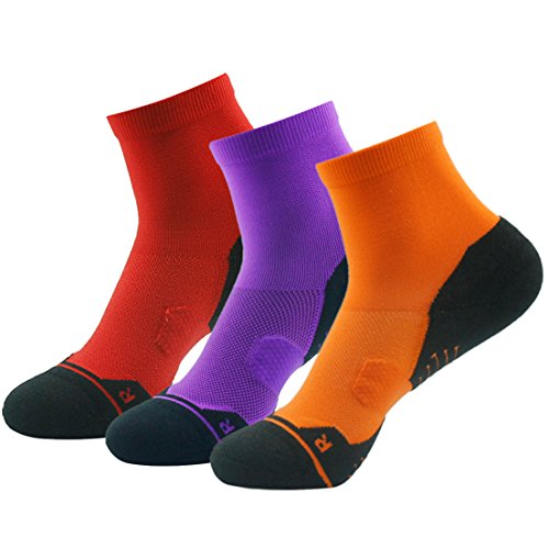Short Running Socks, HUSO Men Women Hiking Ankle Socks,Padded Walking Socks,Low Cut Tennis Socks 3 Pairs