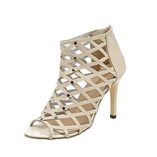 ¡Oferta de liquidación Covermason! Zapatos de tacón alto Peep Toe de moda para mujer Sandalias romanas de gladiador Rivet(42 EU, Beige)