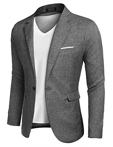 COOFANDY Men Suit Jacket Linen Slim Fit Sport Coat Business Fashion Daily Blazer
