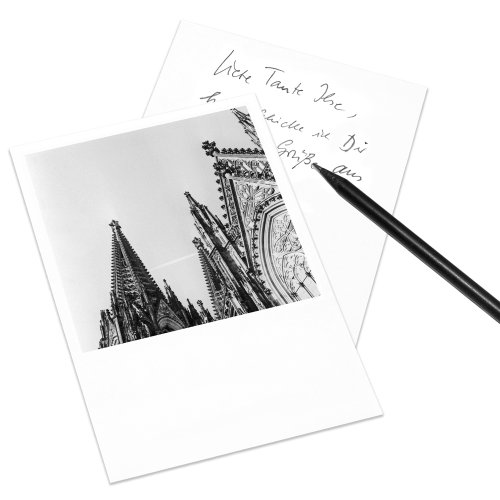 10er-Set Postkarte Köln im Polaroid-Look - DIN A6 Hochformat - Motiv: Kölner Dom (II)