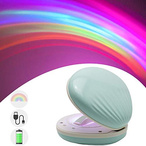 DITINEK Proyector de luz nocturna, lámpara portátil de proyección para niños, lámpara de ambiente nocturno, luz de arco iris...