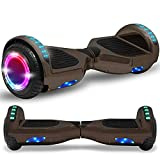 Newest generation electric hoverboard dual motors two wheels hoover board smart self balancing scooter with built in speaker LED Lights For adults kids gift (Chrome Black)