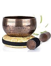 Silent Mind Tibetaanse klankschaalset, bronzen mantra design, met hoogwaardige houten klopper en Himalaya kussen, perfect voor yoga-meditatie, ontspanning en aandachtzaamheid, de ideale cadeauset