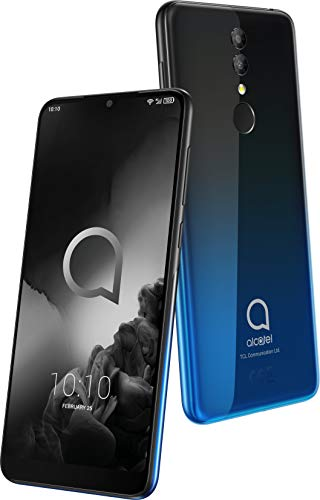 Alcatel 3 (2019) smartphone (pantalla 5,94', 4GB RAM, 64GB memoria interna, Dual SIM, doble cámara frontal 13 Mpx + 5 Mpx, cámara selfie 8 Mpx, batería 3.500 mAh, Android), Negro y Azul