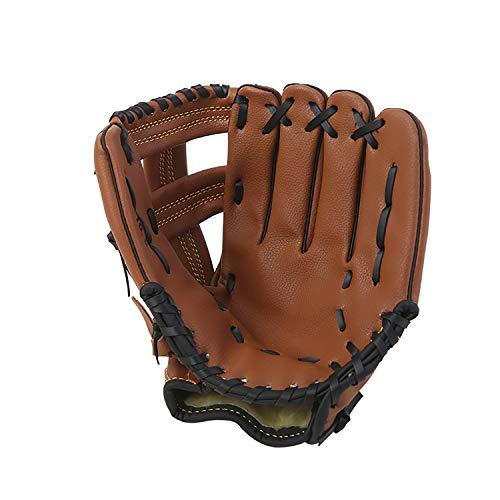 ZYYRSS Gant de baseball pour sports de batteur avec cuir PU doux et solide - Gants de softball épais - 31,8 cm - Pour jeunes adultes - Main gauche - Marron