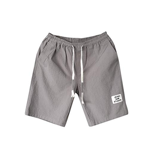 Pantalones Cortos de Playa Hombres Verano Moda Ocio Lino Talla Grande Suelto Cinturón Drawstring Pantalones