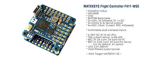 Matek System F411-WSE F4 Flight Controller with OSD Inav Firmware Dual Camera Inputs for RC Plane Fixed Wing FPV Aircraft Glider Sailplane Airplane Similar with F411-WING F722-WING F405-WING