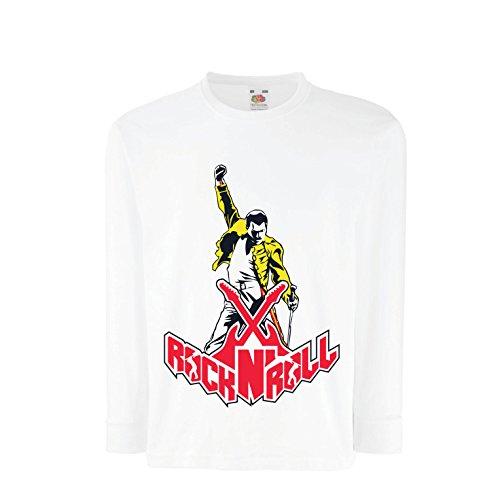 lepni.me Camiseta para Niño/Niña Rock and Roll para Siempre, Conjunto de Concierto de la Banda de Rock. (14-15 Years Blanco Multicolor)