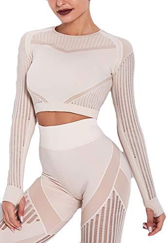 Tops Yoga Camiseta Deportiva A Juego Sin Costura Mangas Larga Aptitud Mujer #10 Tono Claro de Piel S