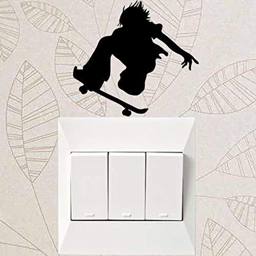 yuandp Vliegende Antenne Trick Action Sport Licht Schakelaar Muursticker Vinyl Home Decor 9x9cm