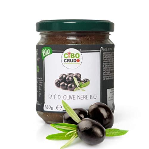 Cibocrudo Patè di Olive Nere Bio, Coltivati in Italia, Solo Ingredienti Biologici, 93% di Olive, Gusto Intenso e Deciso, per Pasta, Pizza, Tramezzini, Grissini e Sugo – 180 gr