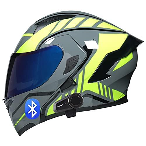SJAPEX Casco de Moto Modular Bluetooth Integrado con Doble Anti Niebla Visera Cascos de Motocicleta ECE Homologado Prueba de Viento para Adultos Hombres Mujeres D,M=57~58cm
