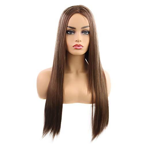 SWDCA Piano Blond Couleur Perruque synthétique Cheveux Longue Ligne Droite Pleine Perruques 130% Densité Partie médiane Perruque Nouveau Style pour Les Femmes,Marron