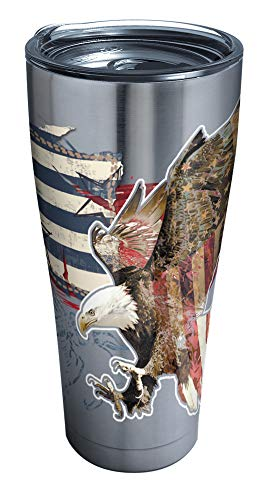 Tervis Americana Distressed Flag Insulated Tumbler with Clear and Black Hammer Lid, 30 oz Stainless Steel, Silver