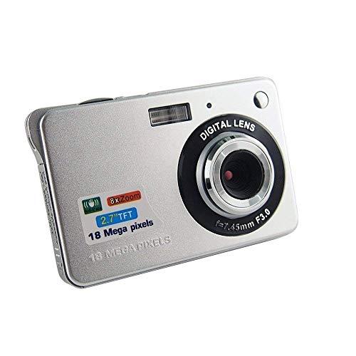 CamKing Videocámara digital 1080P FHD, Mini18 MP, 2,7 pulgadas, cámara de bolsillo, cámara digital para cámaras compactas para fotografía (plateada)
