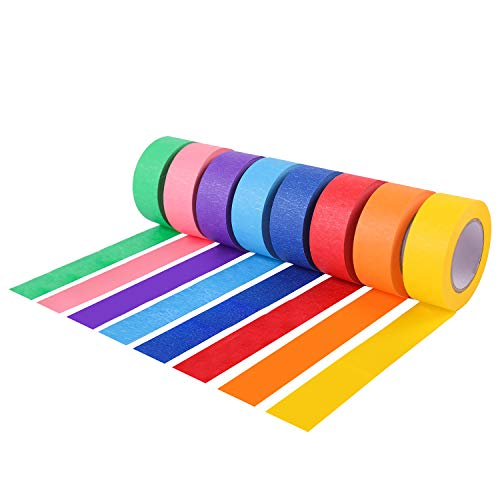 Colored Masking Tape/Painters Tape, Kids Craft Set - 8 Different Colored Tape - 16 Yards x 1 inch - Assorted Color Coded & Fun DIY Art Supplies for Kids, Labeling or Coding, Home Decoration