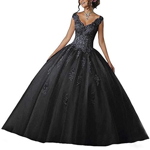 Vantexi Damen V-Ausschnitt Quinceanera Kleider Mit Spitze Abendkleider Lang Hochzeitskleider Elegant Ballkleid Schwarz Größe 60