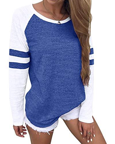 YOINS Camiseta de Manga Larga para Mujer Camisas con Rayas Cuello Redondo Casual Blusas Elegante Tops Azul Oscuro XXL