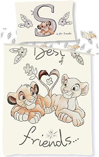 Le Roi Lion Simba Nala Parure de lit Bébé 100x135 cm Taie 40x60 cm Housse de couette Disney 100% Coton