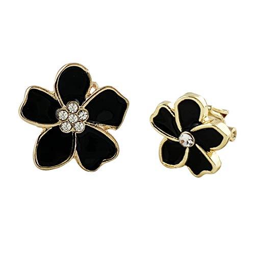 HAISWET Asymmetry Flower Black Enamel Gold Tone Clip on Earrings Statement Jewellery